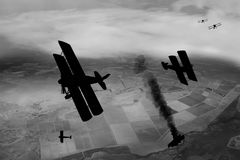 Silhouette  World War One Aircraft Stock Photography