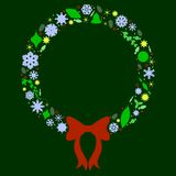 Silhouette Xmas Wreath Stock Image