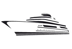 Silhouette of the yacht. Boat. Ship. Stock Photos