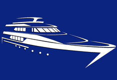 Silhouette of the yacht. Boat. Ship. Royalty Free Stock Photo