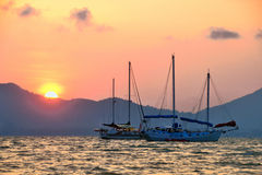 Silhouette of Yacht boats Royalty Free Stock Images