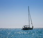 Silhouette of yacht without sails Royalty Free Stock Photo