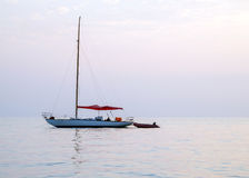 Silhouette of yacht without sails Royalty Free Stock Image