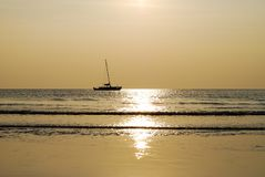 Silhouette of a yacht in the sea at sunset. Thailand. Ko Chang island Royalty Free Stock Photography
