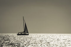 Silhouette of yacht Royalty Free Stock Photo