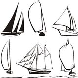 Silhouette of yachts Stock Images