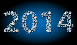 2014 year-number. Silhouette of 2014 year-number, made with faceted shiny diamond Royalty Free Stock Images