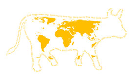 Silhouette of a yellow cow. Isolated cow silhouette. Coloration of a cow in the form of a world map. A contour - a congratulatory text Stock Photography
