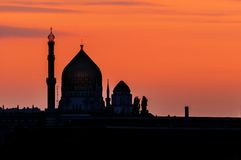 Silhouette of the Yenidze in Dresden Royalty Free Stock Photography