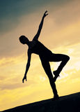 Silhouette . Yoga Stock Images