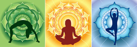 Silhouette of yoga girls on bright mandala. Backgrounds Stock Images