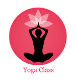 Silhouette yoga and lotus. Female silhouette yoga. Above her head, a lotus flower. Silhouette sits on a background of pink circle Royalty Free Stock Image
