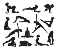 Silhouette Yoga poses stock illustration