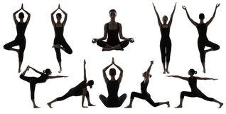 Silhouette Yoga Poses on White, Woman Asana Position Exercise Stock Images