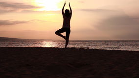 Silhouette of yoga stock video