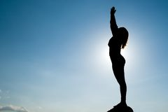 Silhouette of Yoga at summit Royalty Free Stock Images