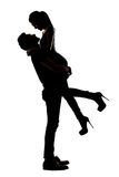 Silhouette of young Asian couple Stock Photos