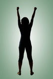 Silhouette of young Asian woman pose Stock Photos