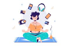 Free Silhouette Young Attractive Woman Meditating Surround Gadgets. Royalty Free Stock Image - 179736996