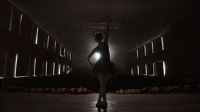 Silhouette of young ballet dancer standing back to camera. Light silhouette of elegant young ballerina standing back to. Camera in second position arms pose on stock footage