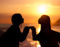 Silhouette young beautiful friends kiss Stock Photos