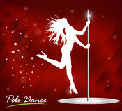 Silhouette of young beautiful woman dancing a striptease, pole dance stock illustration