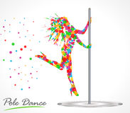 Silhouette of young beautiful woman dancing a striptease, pole dance Stock Photos