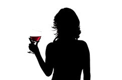 Silhouette, woman holding wine glass Stock Photos