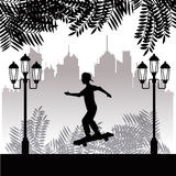 Silhouette young boy skater park twon background Stock Image