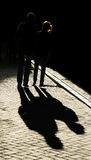 Silhouette of young couple Stock Image