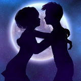 Couple silhouette in the night Stock Image