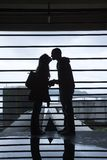Silhouette of Young Couple Kissing Royalty Free Stock Images