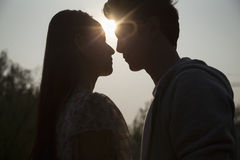 Silhouette of young couple very close to each other, sunbeam and lens flare Royalty Free Stock Image