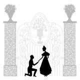 Young couple silhouette Stock Photo