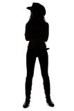 Silhouette of young cowgirl - full length. Silhouette of young cowgirl on white background - full length Stock Photo