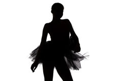 Silhouette of young dancer girl Royalty Free Stock Images