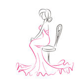 Silhouette of young elegant woman sitting on chair. Girl is dressed in a beautiful evening red dress. Vector scribble drawing by lines Royalty Free Stock Photo
