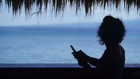 Silhouette of young fit girl under thatch and using her laptop. Beautiful female traveler is waiting for her friends for stock video