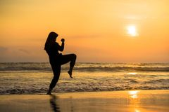 Silhouette of young fit Muslim woman covered in Islam hijab head scarf training martial arts karate kick attack and fitness royalty free stock images