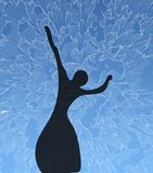 Silhouette of the young girl. The ballerina on a blue background Royalty Free Stock Photos
