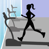 Silhouette of a young girl running in fitness centers Stock Photos
