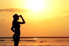 Silhouette of a young girl on the sea in a hat Stock Photos
