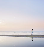 Silhouette of a young girl walking at the sea Royalty Free Stock Photography