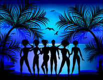 Silhouette of young girls and boys. On the background of a tropical landscape. Summer Trips Stock Images
