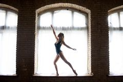 Silhouette of a young good shaped ballerina standing on the huge window. Concept of healthy lifestyle