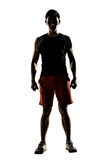 Silhouette of young male athlete Stock Image