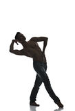 Silhouette of a young man dancer isolated Stock Images