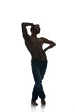 Silhouette of a young man dancer isolated Royalty Free Stock Photos