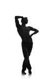 Silhouette of a young man dancer isolated Royalty Free Stock Image