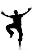 Silhouette of Young Man Dancing Royalty Free Stock Image